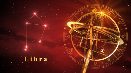 Armillary Sphere And Constellation Libra Over Red Background