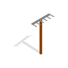 Rake icon in isometric 3d style isolated on white background. Tools for cleaning symbol