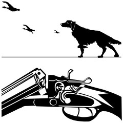 hunting rifle dog duck black silhouette white background vector