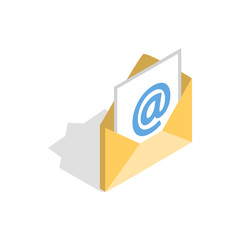E-mail icon in isometric 3d style isolated on white background. Message symbol
