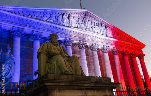 the french national assembly lit up with the colors of french na photo libre de droits sur la. Black Bedroom Furniture Sets. Home Design Ideas