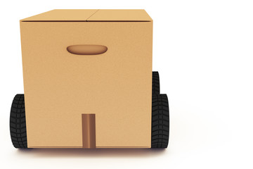 Moving box with wheels, 3D-Illustration