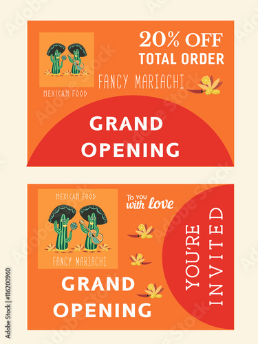 Set Of Templates For Mexican Restaurant Grand Opening