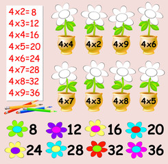 Exercise for children with multiplication by four - need to paint the flowers in relevant color. Developing skills for counting. Vector image.