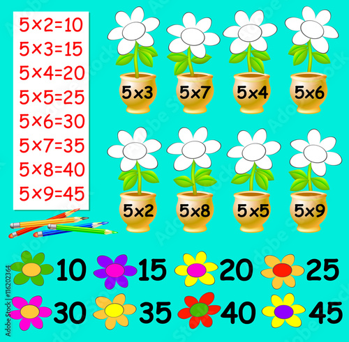 Exercise for children with multiplication by five - need to paint ...