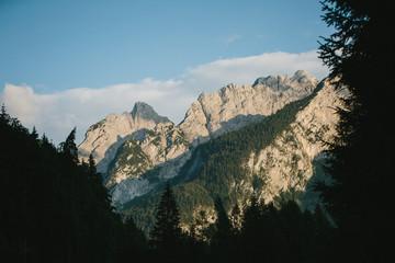 Late sunlight casting shadows on Alps