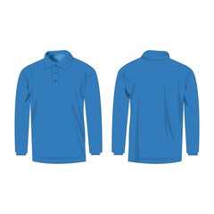 Light blue polo with long sleeve isolated vector