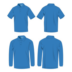 Light blue polo shirt and polo with long sleeve isolated vector set