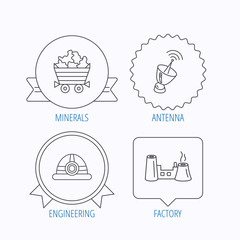 Antenna, minerals and engineering helm icons.