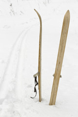 old skis on the snow