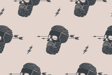 Seamless pattern background of vintage skull hipster with arrow. Graphic design for wrapping paper and fabric texture of shirt. Vector Illustration