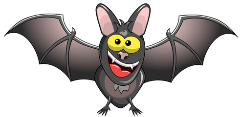 Happy Cartoon Bat Standing isolated