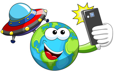 Cartoon Earth selfie alien ufo spaceship isolated
