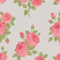 Floral bouquet seamless pattern. Flower rose background. Flourish ornamental wallpaper
