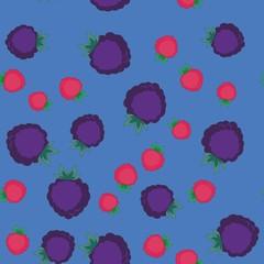 Blackberry and raspberry cartoon seamless texture 642