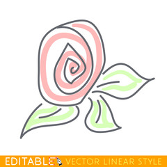 Flower. Abstract icon. Editable vector graphic in linear style.