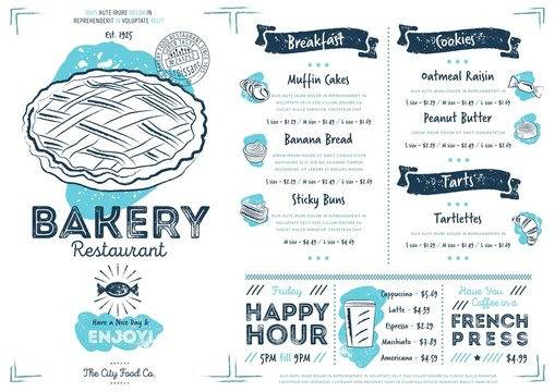 Restaurant bakery cafe menu template flyer vintage design vector illustration