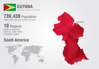 Wall Mural - Guyana world map polygon with a diamond pattern.