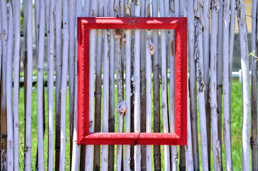 Red photo window frame