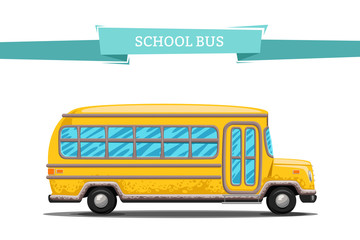 Cartoon School Bus on white. Back to school. Yellow bus with shadow