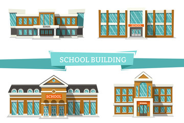 Schooll buildings on white. Flat vector illustration. Back to School.