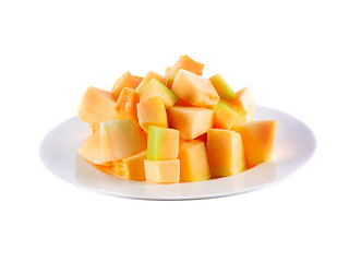Melon slices in plate  on white background