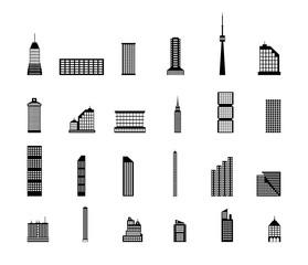 Set of various city buildings