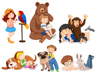 Children with wild animals