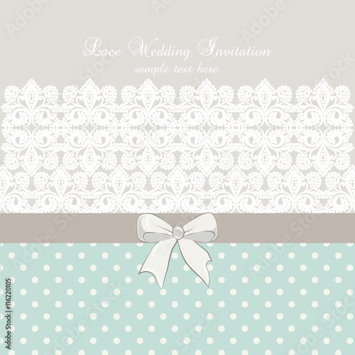"Crochet Wedding Invitations: ""Vector Lace Crochet Card Background With Bow And Retro"