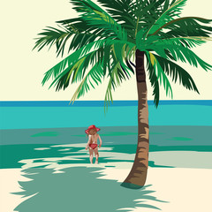 Little Girl playing at the beach. Kid running on the beach. Vector illustration  in Watercolor