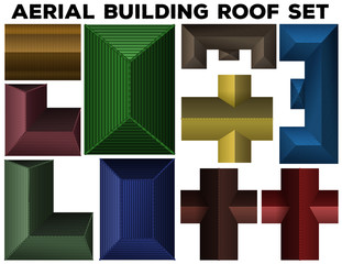Aerial building roof set