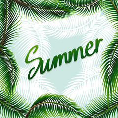 Summer theme background with green leaves