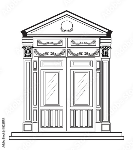 Entrance in classic style. Vector architectural facade. Wire frame ...