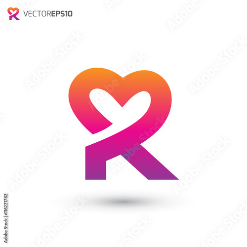 "R Alphabet In Heart ""Heart Logo Lette..."