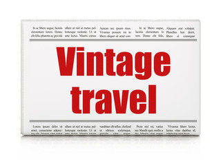 Travel concept: newspaper headline Vintage Travel