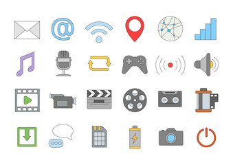 Multimedia colorful icons set