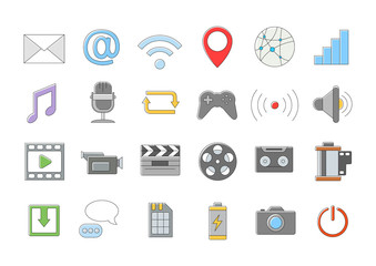 Multimedia vector icons set