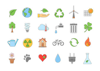 Eco vector icons set