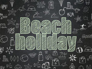 Travel concept: Beach Holiday on School board background