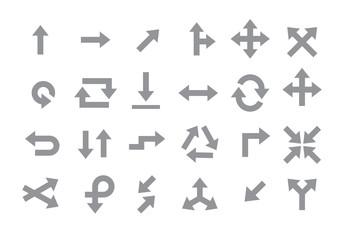 Arrows gray vector icons set