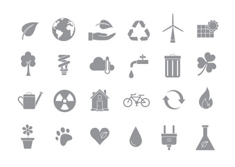 Eco gray vector icons set