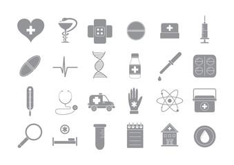 Hospital gray vector icons set