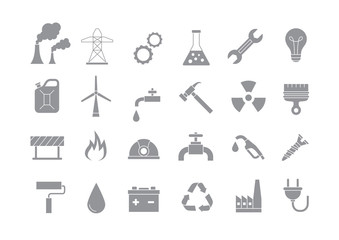 Industry & work gray vector icons set