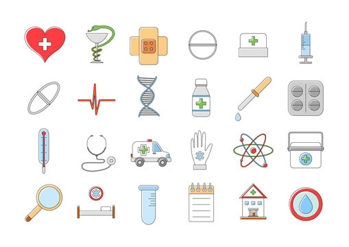 Hospital colorful vector icons set