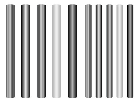 Scaleable shiny steel poles collection in different styles