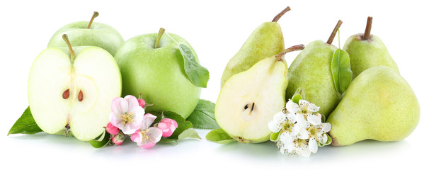 Apfel und Birne Äpfel Birnen grün Früchte Obst geschnitten Fr