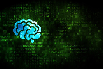 Science concept: Brain on digital background