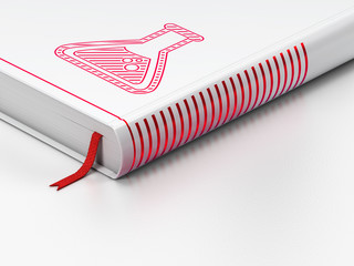 Science concept: closed book, Flask on white background