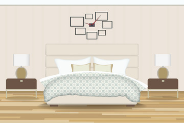 Bedroom Illustration. Elevation Room with Bed, Side Table, Lamp, Window and Curtains. Furniture for Your Interior Design .
