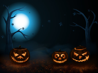 Scary halloween pumpkins in autumn forest in the mist. Space for your Halloween holiday text. Vector illustration